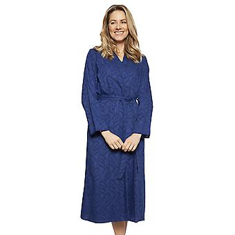 Cyberjammies 1324 Women's Nora Rose Thea Navy Blue Cotton Long Robe