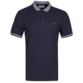 Farah Mills Stripe Collar Navy Polo Shirt