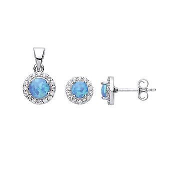 Jewelco London Damen Rhodium vergoldet Sterling Silber blau Runde Opal Halo Ohrringe Halskette Set