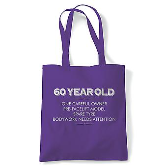 60 Year Old One Careful Owner Funny Tote | Humour Laughter Sarcasm Jokes Messing Comedy | Reusable Shopping Cotton Canvas Long Handled Natural Shopper Eco-Friendly Fashion