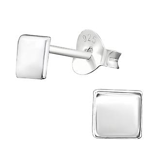 Square - 925 Sterling Silver Plain Ear Studs - W38383X
