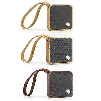 Gingko MI Square Pocket Bluetooth Speaker, Portable & Rechargeable With A Wrist Strap, Made With Solid Wood Or Bambooo, Various Colours