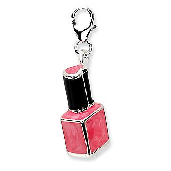 925 Sterling Silver Rhodium plaqué Fancy Lobster Closure 3-d Enameled Pink Nailpolish Bottlew Lobster Clasp Charm - Meas