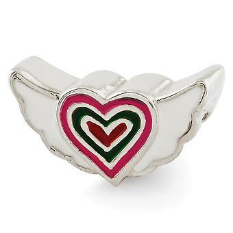 925 Sterling Argent Émail Rose Poli Enamel Enamel Enamel Enamel Antique finition Reflections Kids Enameled Heart With W