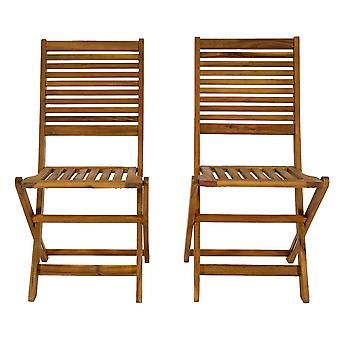 Charles Bentley FSC Acacia Wood Pair of Outdoor Foldable Chairs