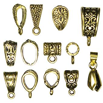 Jewelry Basics Mix Bail Pack 13 Pkg 10Mmx15mm Antique Gold 34712002