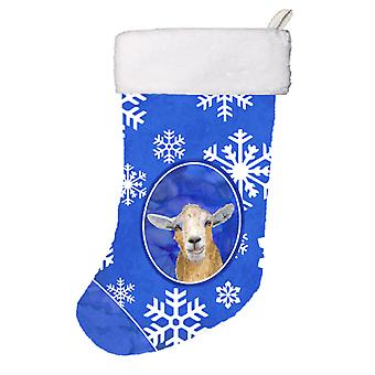 Goat Winter Snowflakes Holiday Christmas Stocking RDR3023-CS