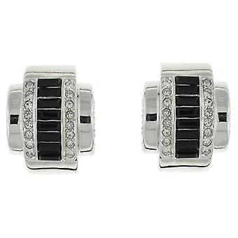 Kenneth Jay Lane Jet Black Baguette Crystal Deco Clip On Earrings