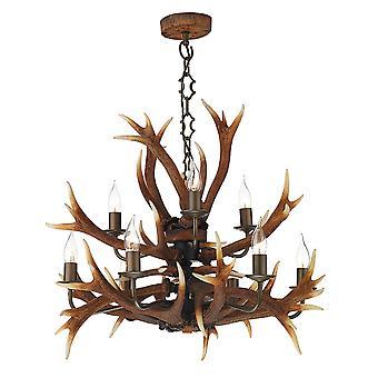 Hjorthorn 9 ljus prisdifferentierade hänge i en naturlig rustik Finish