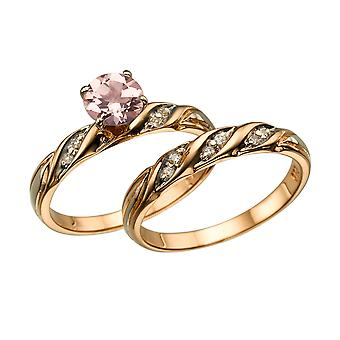 Natural peach/pink 2.10 CTW VS Morganite Ring with Diamonds Rose Gold 14K Wedding Set
