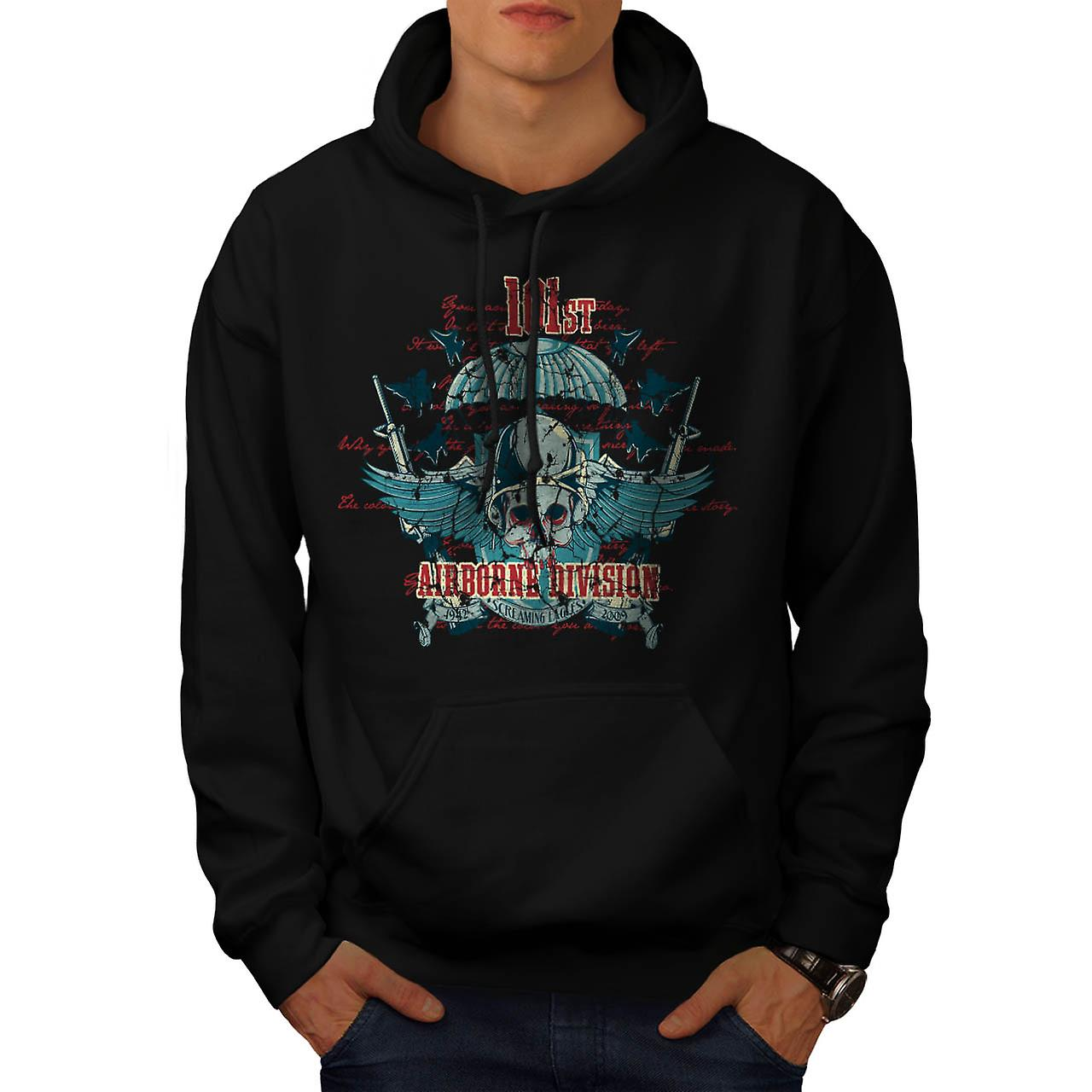 Airborne Division Fly War Flight Men Black Hoodie | Wellcoda