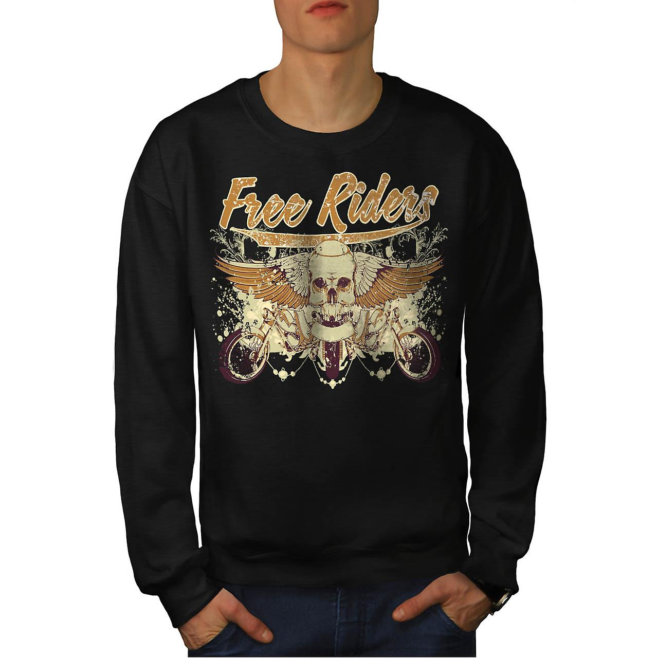 Free Riders Angel Biker Men Black Sweatshirt | Wellcoda