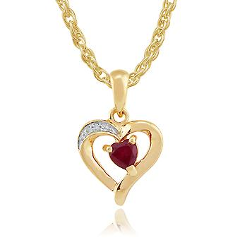9ct Yellow Gold 0.26ct Natural Ruby & Diamond Heart Pendant on Chain