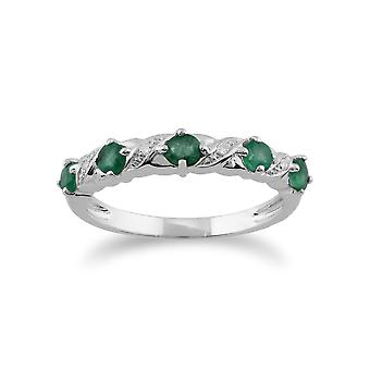 Gemondo 9ct Weißgold 0,49 ct Smaragd & Diamant eine halbe Ewigkeit Ring