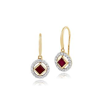 Gemondo 9 kt gult gull 0.38ct Ruby & Diamond Drop øredobber