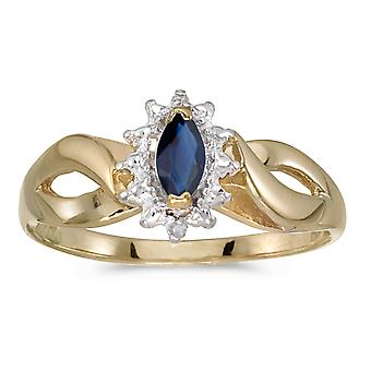 10k Yellow Gold Marquise Sapphire And Diamond Ring