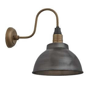 Brooklyn Vintage Swan Neck Wall Sconce - Dome - Dark Pewter - 13