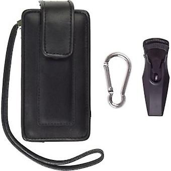 Fitted Vertical Leather Pouch for Palm Treo 800 & Extra Large sized handsets