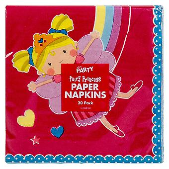 Pack Of 20 Children's Princess Birthday Party Tableware Napkins