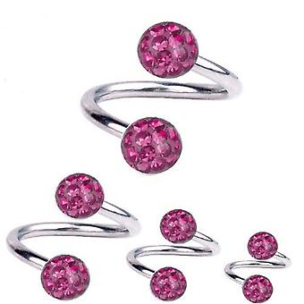 Spirale Twist Piercing Titan 1,6 mm, Multi Kristall Kugel Pink | 8 - 12 mm