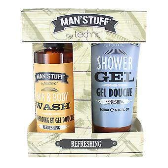 Technic Man' Stuff Refreshing Gel Douche Shower Gel, Hair & Body Wash Duo Kit