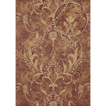 Baroque wallpaper Atlas ATT-4805-3 non-woven wallpaper imprinted with floral ornaments shiny red purple bronze creamy white 7,035 m2