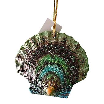 Tropical Beach Seashell krikand og grøn Christmas Ornament ORNShell03
