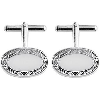 Orton West Silver Plated Engraved Detailed Oval Cufflinks - Silver