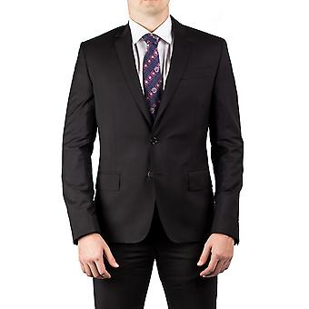 Luciano Barbera Club Men's Slim Fit Wool Two Button Suit Black