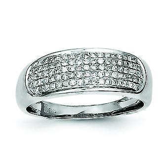 Sterling Silver Polished Rhodium-plated Five Row Diamond Band Ring - Ring Size: 6 to 8