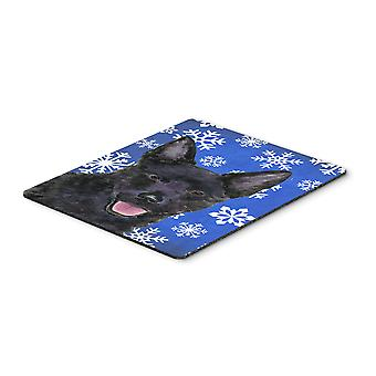 Australian Kelpie Winter Snowflakes Holiday Mouse Pad, Hot Pad or Trivet