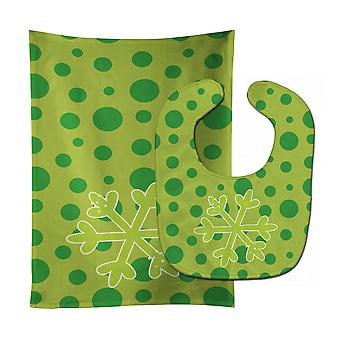 Carolines Treasures  BB8948STBU Christmas Snowflake Green Baby Bib & Burp Cloth