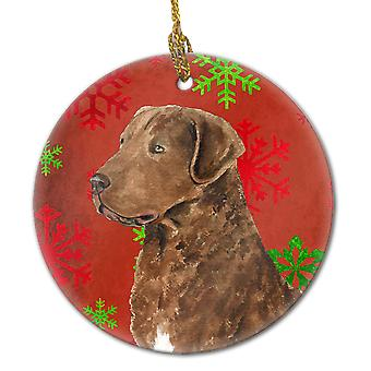 Chesapeake Bay Retriever Red Snowflakes Holiday Christmas Ceramic Ornament