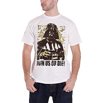 Star Wars T Shirt Darth Vader Join Us Or Die new Official Mens White
