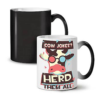 Cow Joke Herd Cool NEW Black Colour Changing Tea Coffee Ceramic Mug 11 oz | Wellcoda