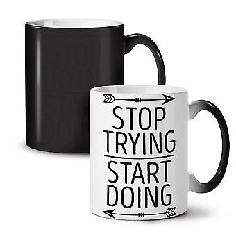 Trying Motivational Funny NEW Black Colour Changing Tea Coffee Ceramic Mug 11 oz | Wellcoda