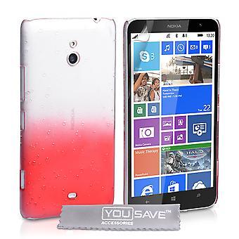 Yousave tillbehör Nokia Lumia 1320 regndroppe hårt fodral - röd-Clear