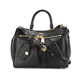 Moschino ladies A742780030555 black leather shoulder bag