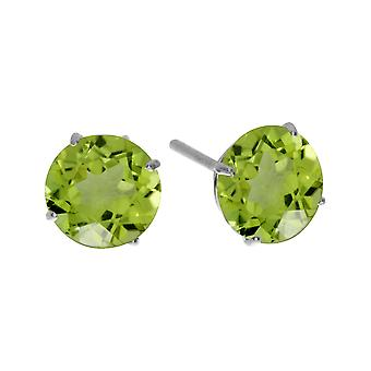 6mm ronde 14 k witgoud Peridot Earrings Stud Earrings