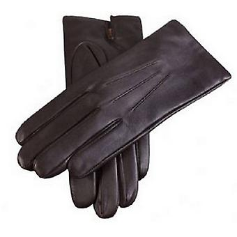 Dents Cashmere Lined Plain Leather Gloves - Brown