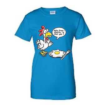 Juniors Funny Chicken to Egg: Is That You, Charlie? T-shirt