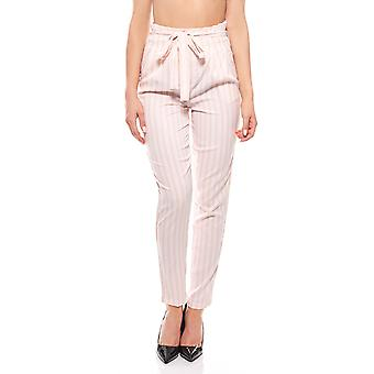 Noisy may trousers ladies pink striped