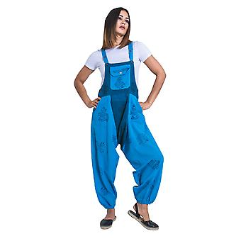 Baggy Harem Dungarees - Turquoise Bib Overalls Boho Jumpsuit