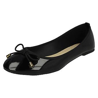 Ladies Spot On Patent Ballerina Shoes F80388 - Black Synthetic Patent - UK Size 8 - EU Size 41 - US Size 10
