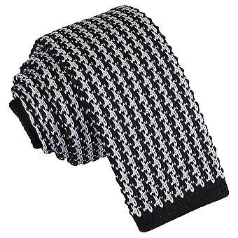 Weiß und schwarz Houndstooth gestrickt schmaler Krawatte