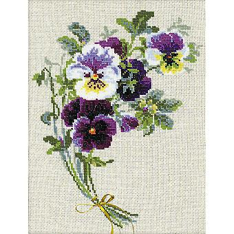 Bunch Of Pansies Counted Cross Stitch Kit-9.5