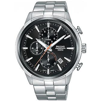 Pulsar Mens Chronograph Black Dial Stainless Steel Strap PM3117X1 Watch