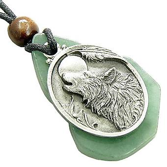 Magic Howling Wolf Head Unique Green Aventurine Gemstone Money Amulet Pendant Necklace