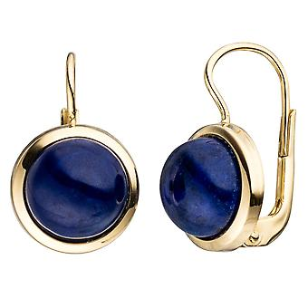 Boutons around 333 Gold Yellow Gold 2 Lapis blue earrings
