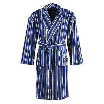 Camille Mens Supersoft Navy Blue & Black Striped Shawl Collar Bathrobe